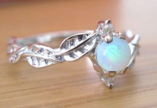 Opal Ring, Leaf Engagement Ring