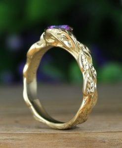 Rainbow Mystic Topaz Gold Ring, Mystic Topaz Leaf 14k Yellow Gold Ring