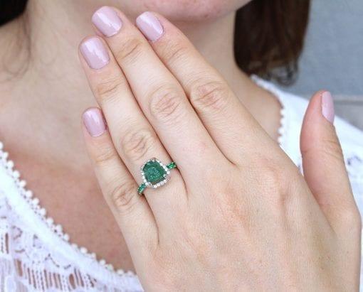Raw Emerald Big Engagement Ring, Rough Ring