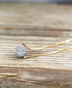Raw Rough Diamond Necklace, Diamond Pendant