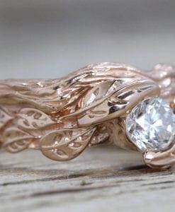 Rose Gold Leaf Bridal Set, Rose Gold Diamond Wedding Set