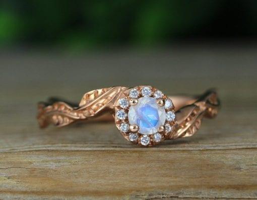 Rose gold moonstone engagement ring, Rainbow moonstone leaf engagement ring