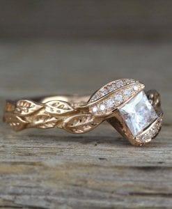 Rose Gold Unique Princess Cut Moissanite Nature Engagement Ring, Leaves Boho