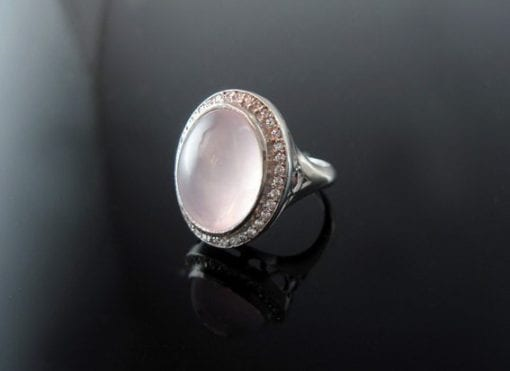 Rose quartz cocktail ring crafted in silver - magic on your finger - free shipping - pink - bold - designer statement - New best gift