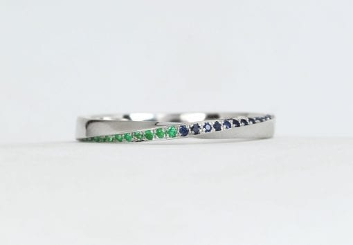 Sapphire and Emerald Solid Gold Minimalist Stacking wedding ring