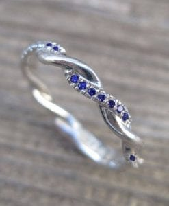 Sapphire Wedding Band, Sapphire Infinity Knot Ring