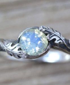 Silver Leaf Ring With Moonstone Gemstone, Moonstone Leaf Ring