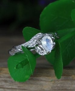 Twig Moonstone Engagement Ring, Unique Ring