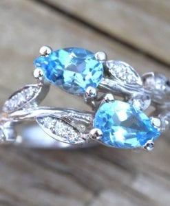 Unique Bark Engagement Ring, Pear Cut Blue Topaz Leaves Engagement Ring