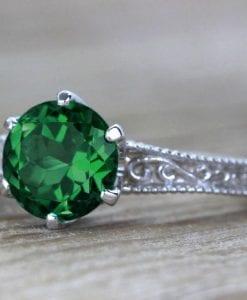 Vintage Emerald Filigree Engagement Ring