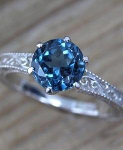 Vintage Engagement Ring, Blue Topaz Ring