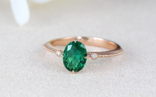 Vintage Inspired Oval Ring With Emerald, Rose Gold Promise Antique Emerald Ring