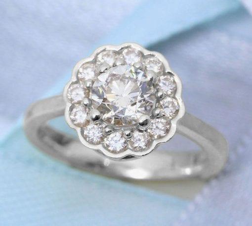 Vintage Moissanite Engagement Ring, Moissanite Halo Ring White Gold Antique Halo Anniversary Ring