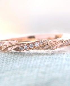 Vintage Rose Gold Leaf Wedding Band, Nature Inspired Diamond Wedding Band