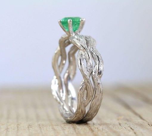 Wedding Ring Set, Natural emerald bridal set
