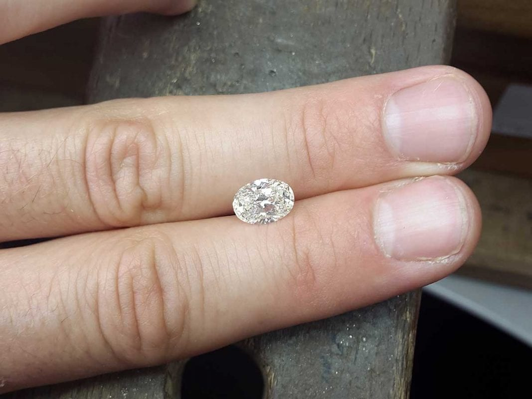 oval diamond created in lab