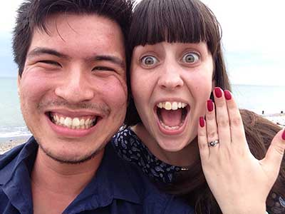 Women and man on beach proposal
