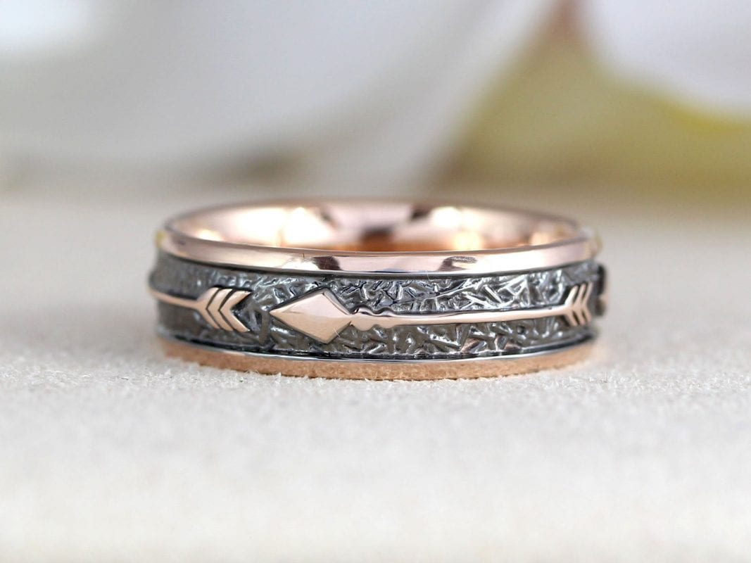Mens rose gold 6mm wedding ring with arrows