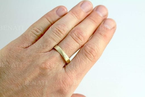 Mens wedding band, a hammered mobius ring