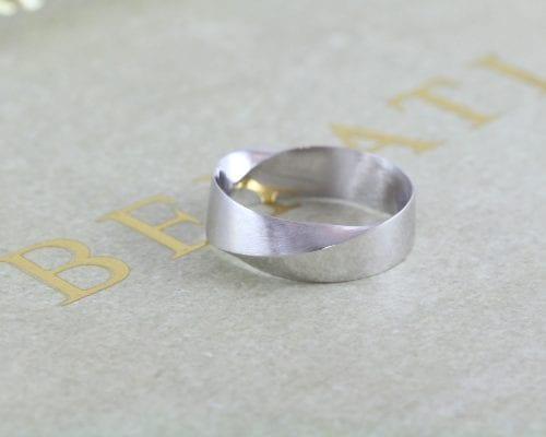 8mm mens mobius wedding band white gold